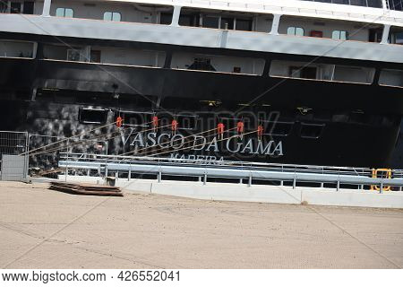 Ijmuiden, The Netherlands - July 8th 2021: Vasco Da Gama Mystic Cruises At Terminal At The End Of Co