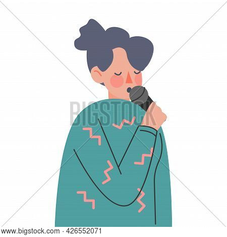 Woman With Microphone Spreading Fake News And Untruth Information Cartoon Vector Illustration
