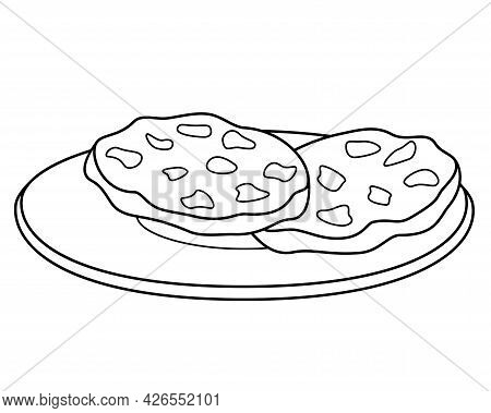 Chocolate Chip Cookies On A Plate - Vector Linear Illustration For Coloring. Outline. Chocolate Chip