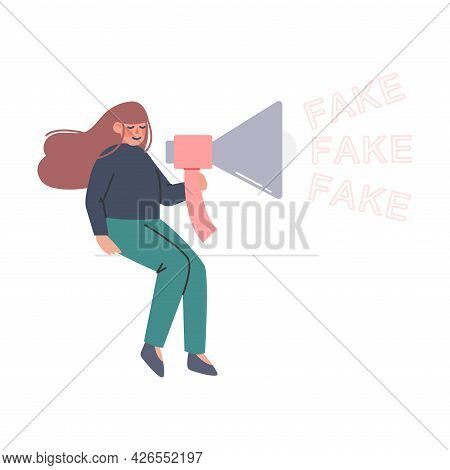 Fake News And Disinformation Concept, Woman With Loudspeaker Spreading Untruth Information Cartoon V