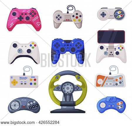 Video Game Controllers Set, Game Console Modern Devices Cartoon Vector Illustration