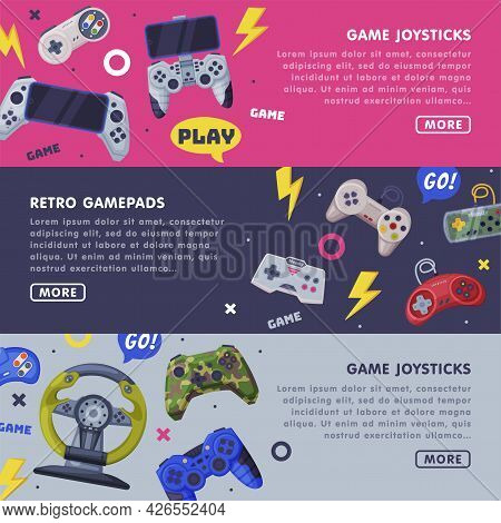 Retro Gamepads Landing Page Templates Design Set, Game Joystick Horizontal Banners With Space For Te