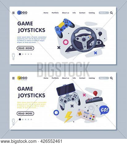 Game Joystick Landing Page Templates Set, Gamepads Controller Consoles Web Banners, Homepage Design