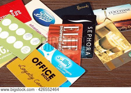 London, United Kingdom - March 15, 2021: Large Pile Of Advantage Loyalty Shopping Cards Used In Vari