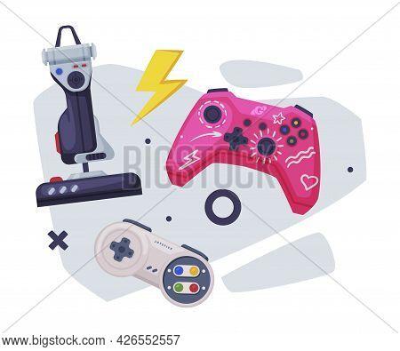 Game Joystick Set, Gamepads Controller Consoles Vector Illustration
