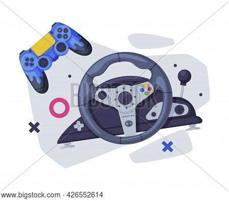 Game Joysticks, Modern And Retro Gamepads Controllers Set Vector Illustration On White Background