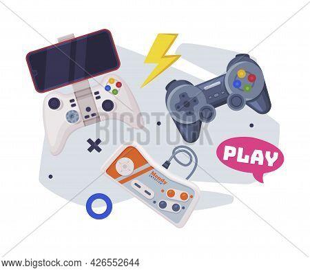 Video Game Joysticks, Modern And Retro Gamepads Controllers Set Cartoon Vector Illustration