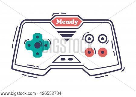 Video Game Console, Gamepad Joystick Video Gamer Gadget Hand Drawn Vector Illustration