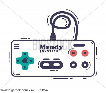 Video Game Console, Gamepad Controller, Video Game Player Device Hand Drawn Vector Illustration