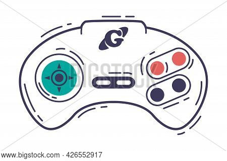 Video Game Console Controller, Video Game Player Modern Accessory Device Hand Drawn Vector Illustrat