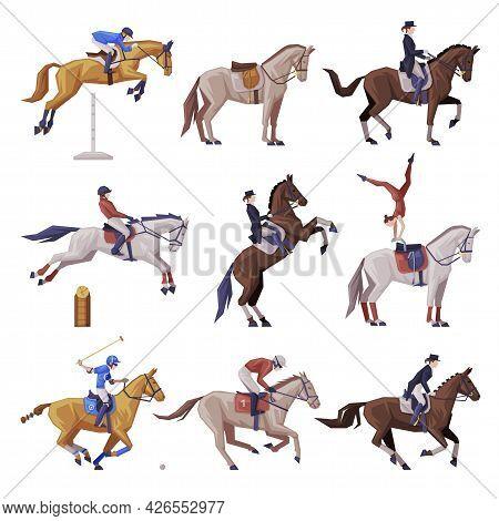 Equestrian Sports Set, People Riding Horses, Racing, Dressage, Vaulting Vector Illustration