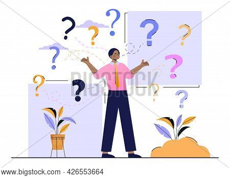 Decide Right Solution Concept. A Man Surrounded By A Large Number Of Questions Throws Up His Hands A