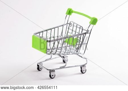 Mini Shopping Trolley On A White Background