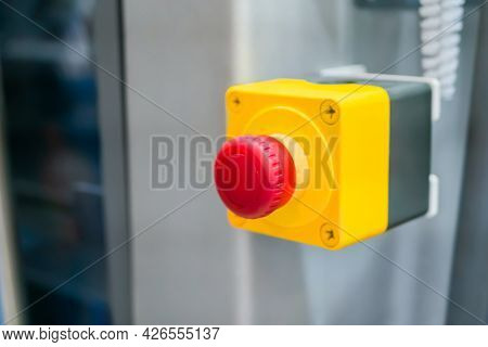 Machine Control Panel With Power Red Switch Button - Emergency Stop At Factory, Plant - Close Up, Se