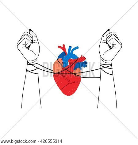 Bad Love. Tangled Relationships, Loving Woman Hands And Heart Connecting Illustration, Psychologist