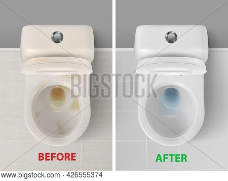 Vector 3d Realistic Clean And Dirty White Ceramic Toilet In The Bathroom, Toilet Room. Opened Toilet