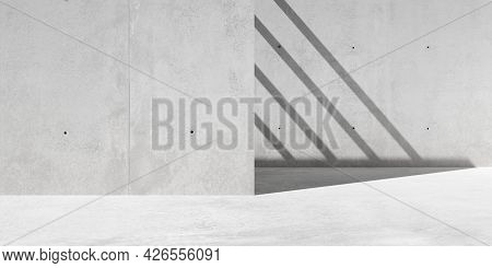 Abstract Empty, Modern Concrete Walls Exterior Room With Sunlight Shadow - Industrial Exterior Backg