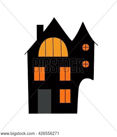 Halloween Haunted House With Brightly Lit Windows, Simple Cartoon Style Cute Vector Illustration, Au
