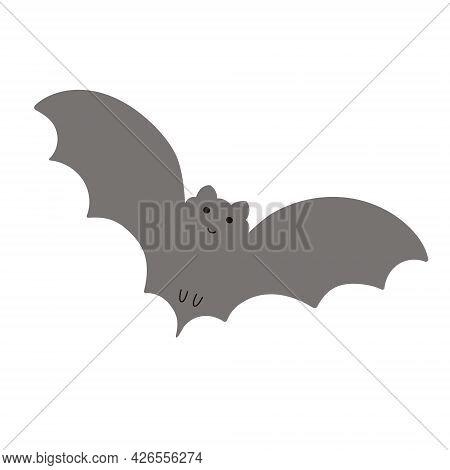 Halloween Bat Simple Fancy Vector Illustration, Hand Drawn Gray Animal Cartoon Spooky Character For