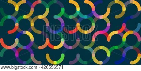 Modern Various Colored Round Rings. Abstract Background Circle Ring, Geometric Elements. Web Banner