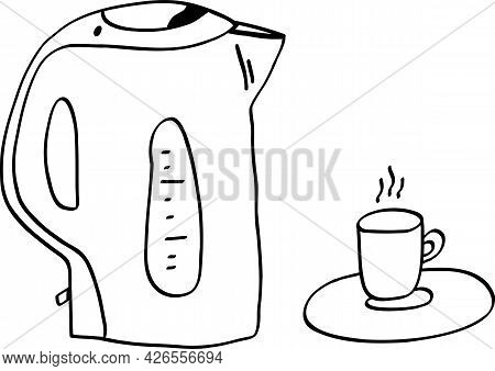 Eclectic Kettle And Cup With Drink Vector Illustration. Outlined Shapes. Teatime Pieces.