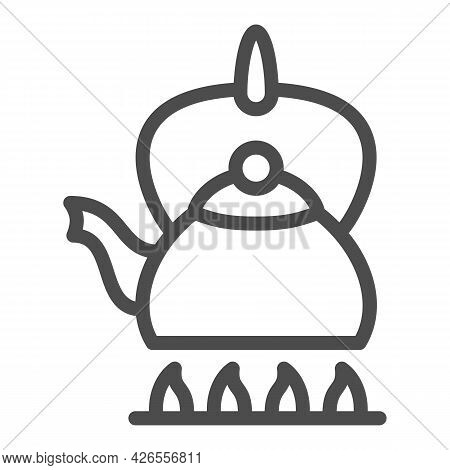 Kettle On Fire Line Icon, Kitchen Ware Concept, Teapot On Gas Stove Vector Sign On White Background,