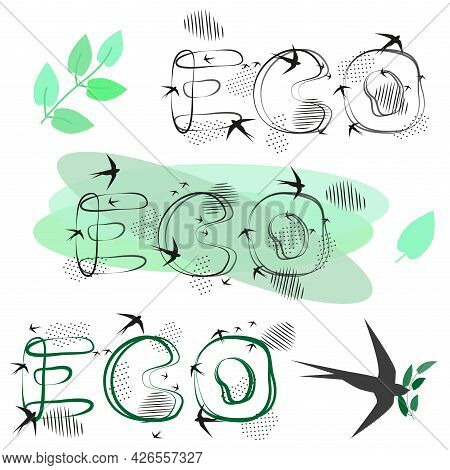 Hand Lettering Eco, Decorative Green Leaves. Drawn Letters. Spots, Dotted Strokes. Vector Illustrati