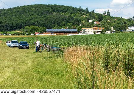 Brno, Czech Republic - July 4, 2021: Small Sports Airport Medlanky, Founded In 1924. A Place For Rc