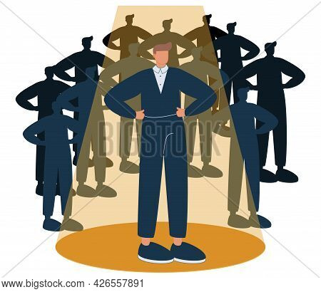 Recruitment Candidate Choice With Spotlight To Selection Tiny Person Concept. Best Option For Human