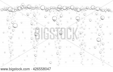 Fizzy Drink, Carbonated Water, Seltzer, Beer, Soda, Champagne Or Sparkling Wine Texture. Oxygen Bubb