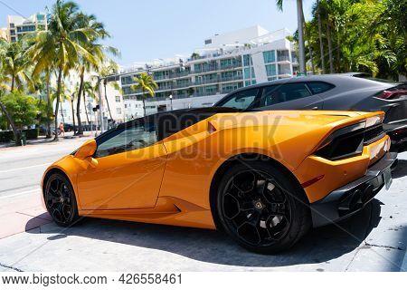 Los Angeles, California Usa - April 14, 2021: Yellow Lamborghini Aventador Side View.