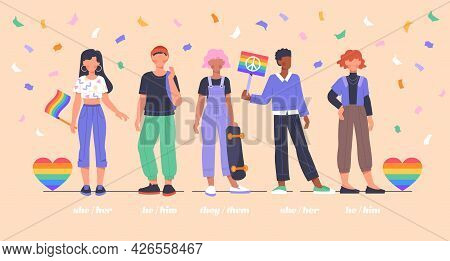 Lgbtqi Social Movement Concept. Diverse Multiethinic Young People Protest Or Participate In A Demons