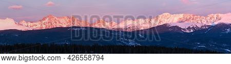 Panorama Of The Indian Peaks Mountain Range Viewed From Fraser Colorado.