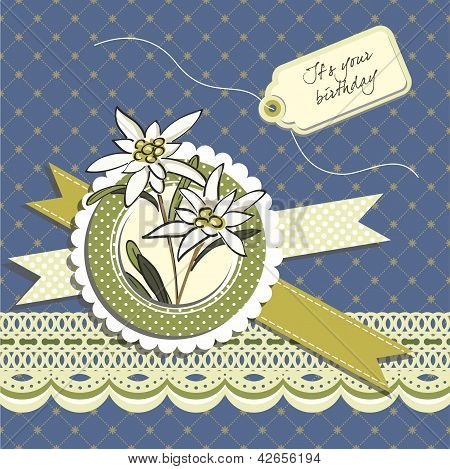 Happy Birthday Greeting Card With Edelweiss Flowers