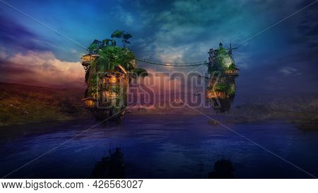 Sunlit Dwellings On Magical Flying Islands Over The Lake, 3d Render.