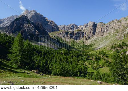 Mountain Range, Valley And Forest On The Path To Colle Delle Muine (pass Of Muine) In Maira Valley,
