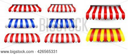 Set Of Realistic Awning Tents Isolated Or Striped Awning Sunshade Or Front Store With Awning Vintage