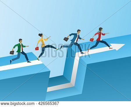 People Running And Jumping Over Gap. Vector Illustration. Eps10.