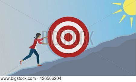 Sisyphus. Woman Struggling With Her Gools (dartboard) To Reach Top, Where The Sunshine Is. Dimension
