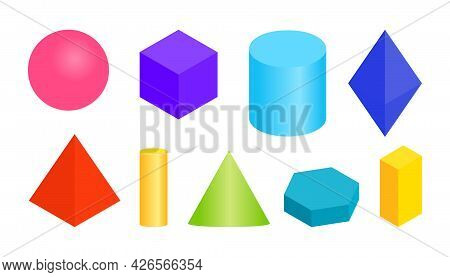 Colored Gradient Volumetric Geometric Shapes. Different Simple Basic 3d Figure. Isometric Views Sphe