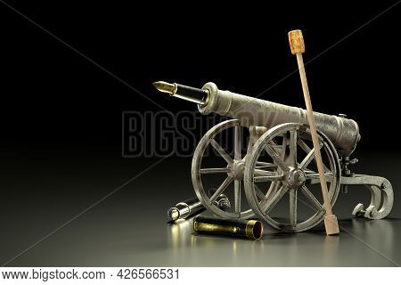 An Old Rusty Cannon On A Carriage And A Fountain Pen To Make A Cannonball Against A Dark Background.