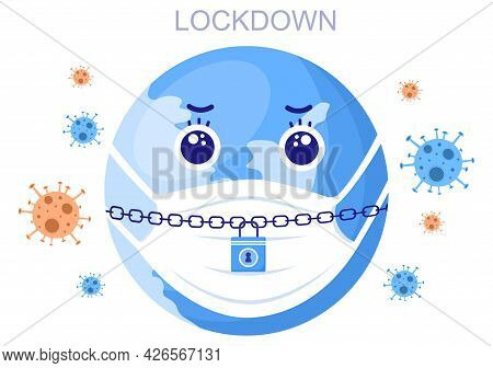 Lockdown To Stop Covid-19 Coronavirus With Cage Or Virus Barrier Tape Over The City In Normal Operat