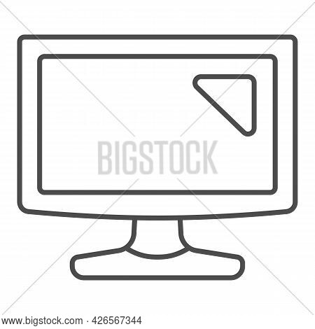Lcd Monitor Thin Line Icon, Monitors And Tv Concept, Tv Screen Set Vector Sign On White Background,