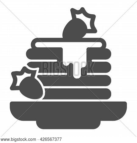 Pancakes, Strawberry Jam Solid Icon, Englishbreakfast Concept, Pancakes Vector Sign On White Backgro