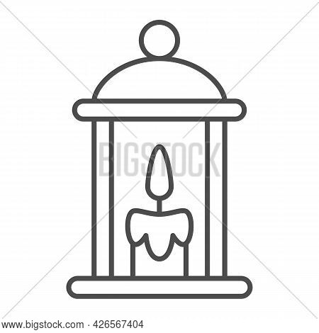 Lamp With Burning Candle Thin Line Icon, Lamp And Lanterns Concept, Cozy Light Lantern Vector Sign O