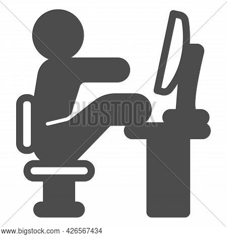 Lazy Employee Solid Icon, Officesyndrome Concept, Lazy Man Sitting At Desk Vector Sign On White Back