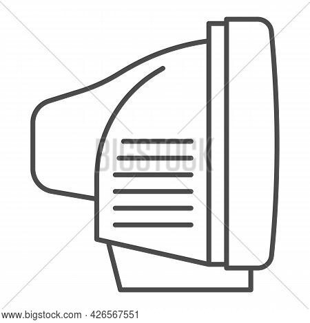Tv Side View Thin Line Icon, Monitors And Tv Concept, Cathode Ray Tube Side View Vector Sign On Whit