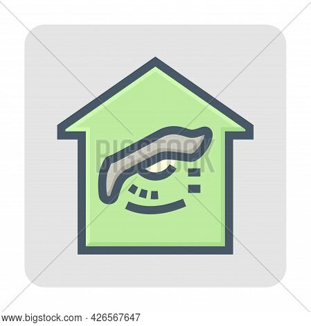 Home Security System And Monitoring Vector Icon Design. Consist Of Home Or House And Eye. That Cctv