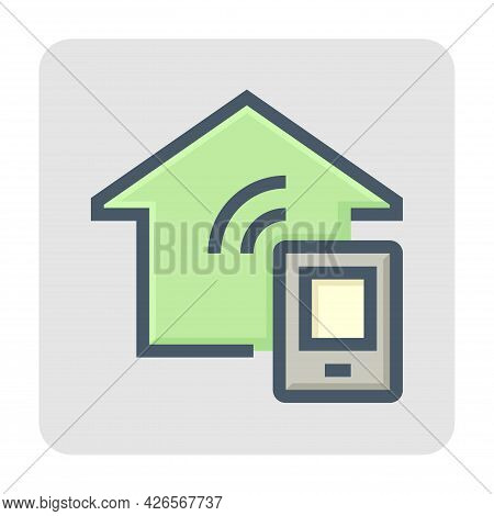 Smart Home Or Home Automation Vector Icon. Include Mobile Phone Or Smartphone. That Device Or Remote