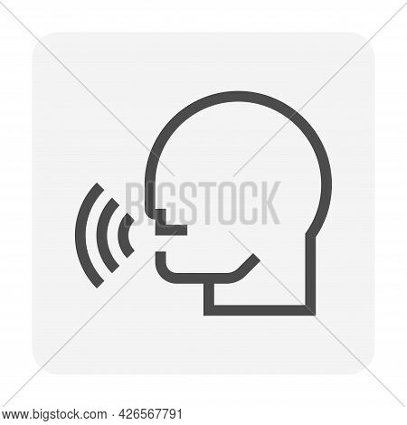 People Talking Or Speaking Vector Icon. That Head Of Person, Speech, Voice, Sound Or Audio. Concept